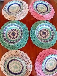 Kit de sousplat de crochê Multicolor 6 ou 4 peças a r$13 cada