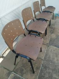 Cadeira plástica Marrom - Ergoplax fixa (4 unidades)