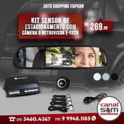 Título do anúncio: Kit Sensor de Estacionamento com Câmera e Retrovisor E-tech instalado na Canal Som