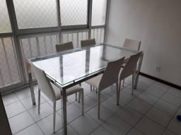 Título do anúncio: Mesa de Jantar com 6 Cadeiras Inox Tampo de Vidro