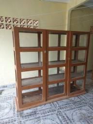 Título do anúncio: Balcão vitrine de madeira maciça com vidro 2 metros