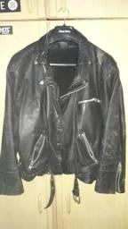 Jaqueta de couro e luvas p/ moto/bike