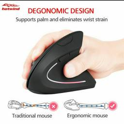 Mouse Óptico Ergonômico Sem Fio De 2.4g Com 6 Botões Mause Para Laptops / Pc