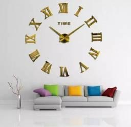 Relógio D Parede Grande Adesivo 3d Decoração Números Romanos