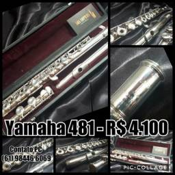 """Flauta Yamaha 481 """"Prata Maciça"""""""