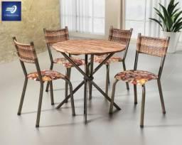 Conjunto com 4 cadeiras e tampo em madeira maciça #FreteGRÁTIS* #Garantia #Lacrado