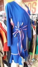 R$ 90 Vestido novo azul com detalhes rosa - Veste 40,42