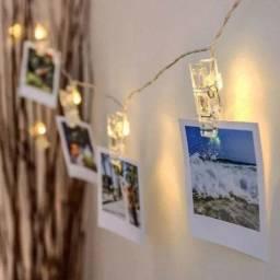 Varal de led com fotos polaroid