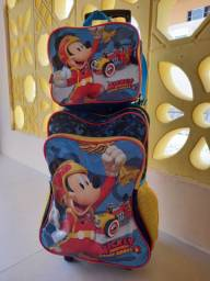 Mochila e lancheira Mickey sobre rodas - Sestini