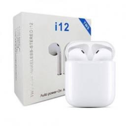 Fone de ouvido sem fio i12 TWS branco