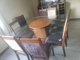 Lindo Jogo De Mesa de Vidro com 8 cadeira almofadadas com centro Giratório de Madeira