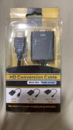 Cabo de conversão HDMI para VGA.