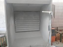 A cabine de pintura eletrostática marca Caibam completa em perfeito estado de uso