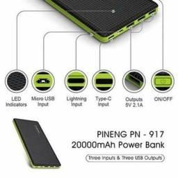 Arregador Portátil Pineng 20000mah Slim Preto Compativel Iphone 7, 8 e X (Original)