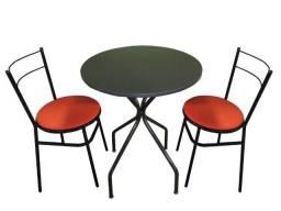 Mesa redonda preta c/ 2 cadeiras,buffet,lanchonete,salão de festa, padaria