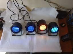Refletores Par led kit com 4 modelo slim DMX carcaça de aluminio