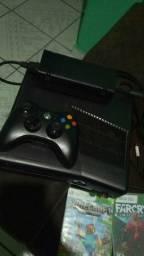 Xbox 360 com 6 jogos e 1 controle