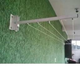 Título do anúncio: varal de parede dobrável novo em alumínio com 20 metros de corda