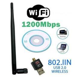 Título do anúncio: Adaptador Antena Wifi Usb Wirelles Receptor 1200mbps Realtek Novo Garantia