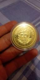 Moeda medalha - Folheada a ouro