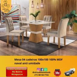 Título do anúncio: mesas de vidro Off-White de 4 cadeira chocolate, tamanhos 120x90, 120x80, 100x100, 90x90