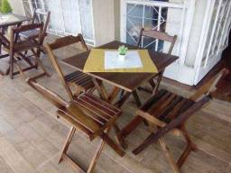Jogo mesa Dobrável madeira maciça