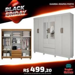 Guarda- Roupa Casal porto 6 Portas Branco COM espelho- Palmeira Móveis