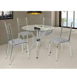 Mesa de vidro 4 cadeiras camila