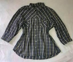 Título do anúncio: Camisa feminina manga 3/4 xadrez e preta G/GG 46/48