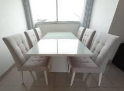 Conjunto Mesa de Jantar Retangular Tampo MDF/Vidro 180cm e Cadeiras em Linho