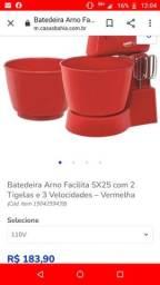 Batedeira Arno Facilita SX25 com 2 Tigelas e 3 Velocidades ? Vermelha<br><br>