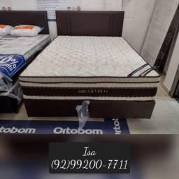 "Título do anúncio: cama cama queen molas ensacadas """" cama queen com painel cabeceira de brinde"