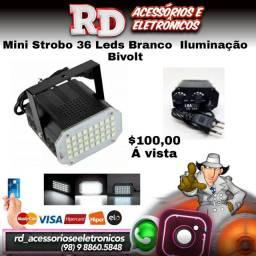 MINI STROBO 36 LEDS SUPER BRANCO RÍTMICO BIVOLT JOGO DE LUZ
