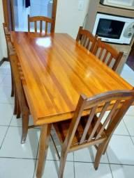 Título do anúncio: mesa de madeira angelim pedra com 6 cadeiras