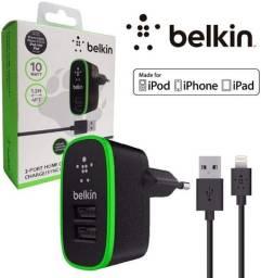Carregador Tomada Duplo Belkin Iphone 5s 6 7 8 X 10 Ipad ...