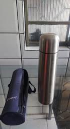 Título do anúncio: Garrafa térmica inox 1L, com capa!