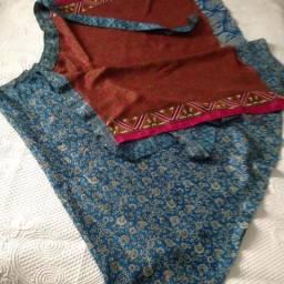 Saia indiana seda utilizada como vestido várias formas