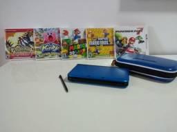 Nintendo 3DS XL, com estojo e 5 jogos