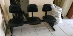 Conjunto Cadeira 3 Lugares Longarina Courino Preto