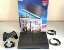 Playstation 3 Super Slim 500gb + Caixa + Controle + 4 Jogos