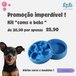 "KIT ""coms&bebs"" > comedouro lento + bebedouro"