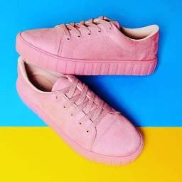 Tênis feminino beira rio rosa camurça NOVO