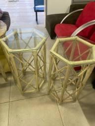 Título do anúncio: 2 Mesas de Canto em Bambu de Decoração Rústico com Tampo de Vidro