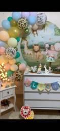 Título do anúncio: Tudo por 70,00 painel de tecido,balões e luminária de girafa