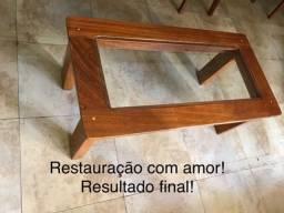 Mesa de centro de madeira restaurada