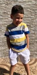 Camiseta listrada infantil 2 aos 14 anos