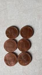 Um centavos  americanos  colecionador