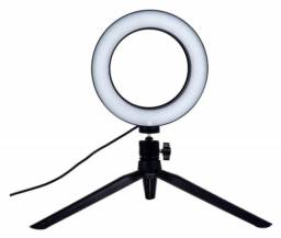 Ring Light Led Mesa Iluminador Pequena Tripé 6 Polegada 16cm.
