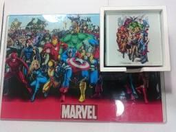 Marvel Tabua De Corte E Porta Copos Em Vidro