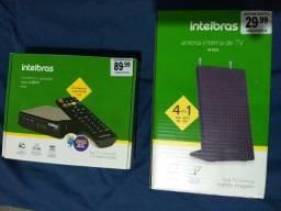 Conversor e gravador digital HDTV + Antena interna de TV Intelbras